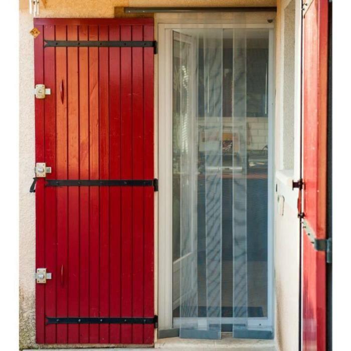 Moustiquaire Rideau 4 Lamelles T/ÉLESCOPIQUE Noir ALU L100 x H220 cm Protection pour porte Sans percer moustiquaire porte anti mouche anti insecte