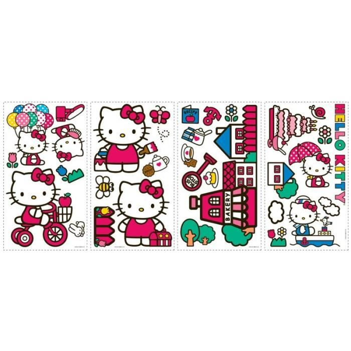 Stickers muraux adhesif mural hello kitty achat vente for Decor mural adhesif