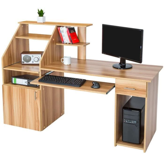 bureau informatique multim dia meuble de bureau pour ordinateur 163 cm couleur h tre 1 tiroir. Black Bedroom Furniture Sets. Home Design Ideas
