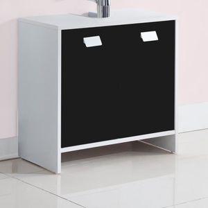 MEUBLE VASQUE - PLAN TOP Meuble sous-vasque L 60 cm - Blanc et noir mat
