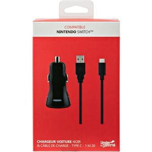 UNDER CONTROL Chargeur voiture 2A + Cable de charge USB TYPE C - Compatible Nintendo SWITCH - Noir