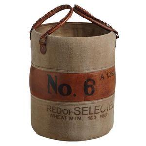 COFFRE - MALLE Rangement vintage en cuir et coton