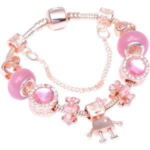 BRACELET - GOURMETTE Bracelet Style Pandora Charm Cristal Rose