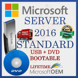SYSTÈME D'EXPLOITATION MS Windows Server 2016 Standard | Lecteur USB + DV