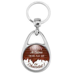 Porte-Cl/és M/étal Maman Je taime Encore Plus Que Le Chocolat Chocolat coulant Gourmand C/él/ébration Anniversaire Amour