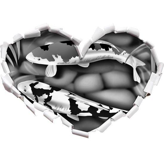 Monocrome, la carpe Noble Koi coeur artificiel dans le regard 3D, mur ou  format vignette de la porte: 92x64,5cm, stickers muraux, - Cdiscount Maison