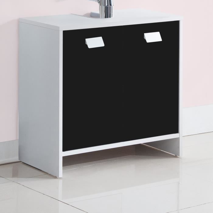 top meuble sous vasque l 60 cm blanc et noir achat. Black Bedroom Furniture Sets. Home Design Ideas