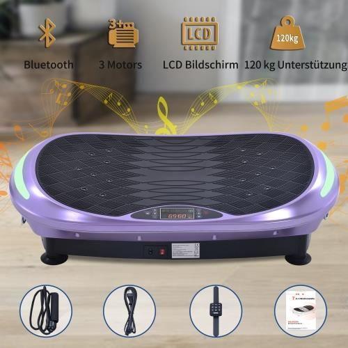 Plateforme Vibrante et Oscillante 4D Triples Moteurs Silencieux Bluetooth Fitness Idéal pour Fitness et Musculation--VIOLET