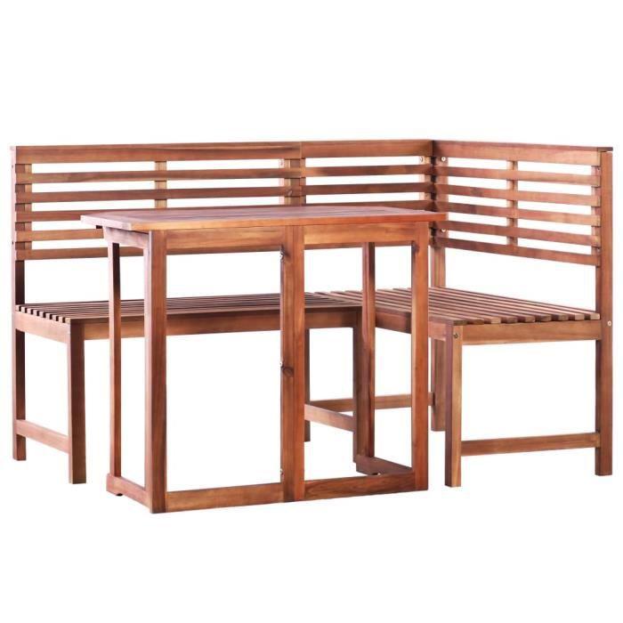 Mobilier de bistro Mobilier de Terrasse Table et Chaises d'Extérieur 2 pcs Bois d'acacia massif