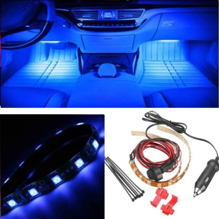 JIE Neon Twin LED Intérieur Footwell Lights & Cigar Plug & Switch Set Bleu