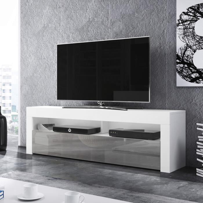 Meuble TV / Meuble de salon - ALAN - 160 cm - blanc mat / gris brillant - sans LED - style moderne