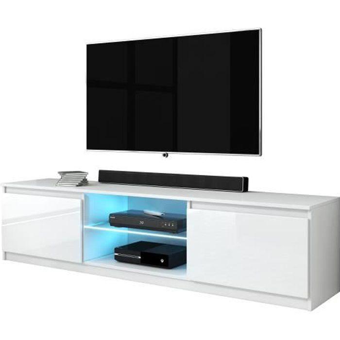 Furnix meuble tv/ banc tv Arenal 160 cm blanc brillant avec LED