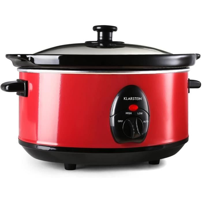 Klarstein Bristol 35 - Slow Cooker, mijoteuse electrique pour cuisson lente (3,5 L, 200W, 2 températures) - rouge