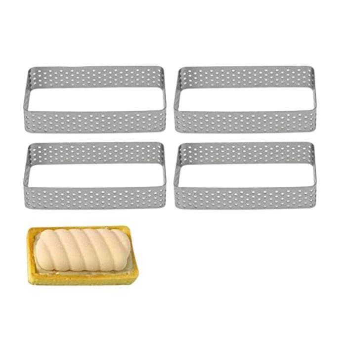 Moule rectangulaire de gâteau d'anneau de tarte d'acier inoxydable de 4 paquets, anneau perforé résistant à la chaleur de Mousse