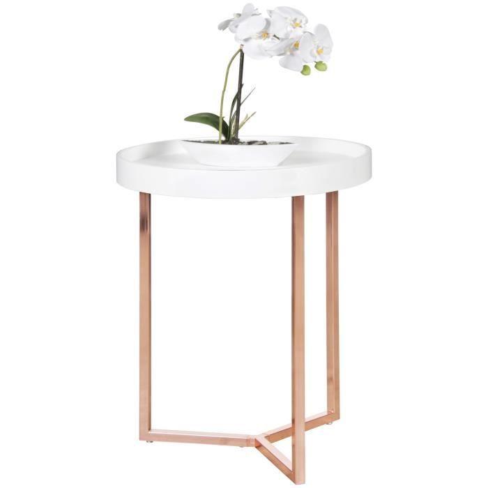 FineBuy Table Basse Bois Métal ø 40cm Table d'appoint Table de salon Rond Design [Blanc]