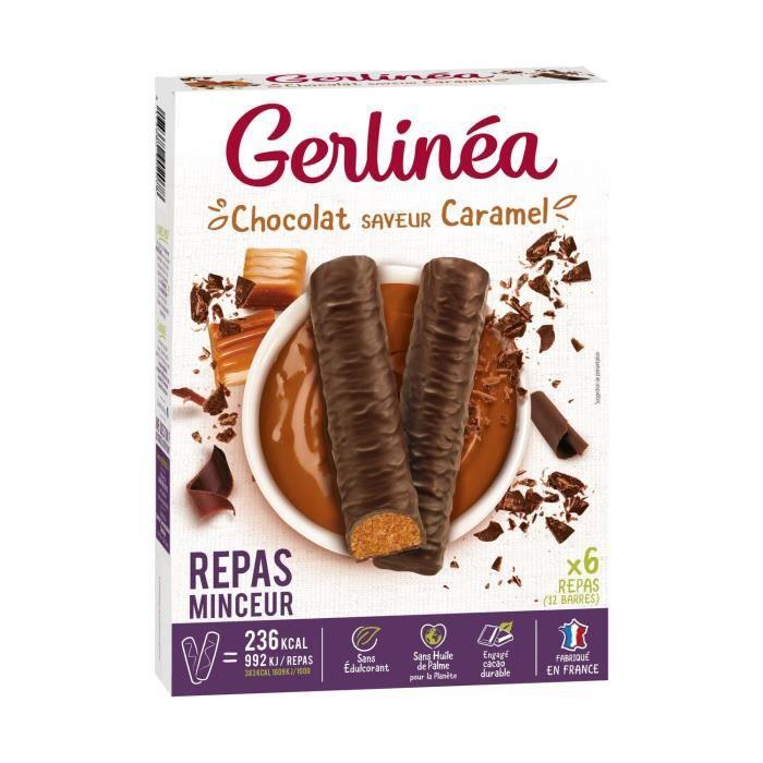 GERLINEA Barres chocolatées substitut de repas, saveur caramel - 372 g