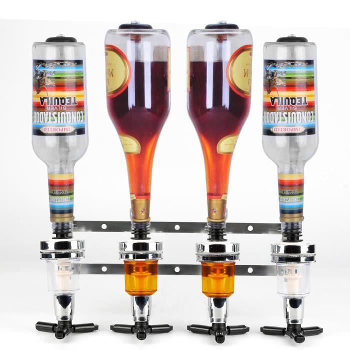 JEOBEST® Distributeur de vin mural, Support Mural pour 4 Bouteilles - Design Doseur Alcool 1,5 oz (43 ml)