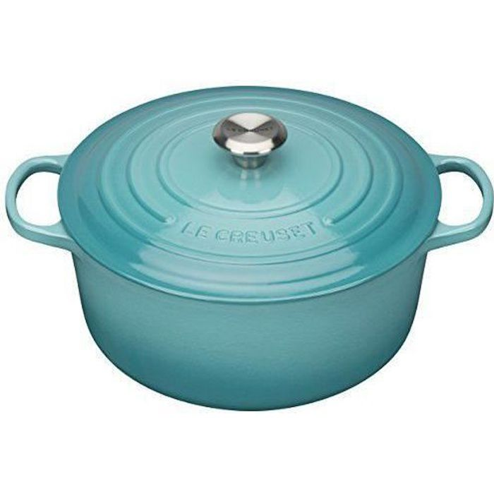 Le Creuset 21177281702430 Signature Cocotte Rond Fonte Bleu Caraïbe 28 cm