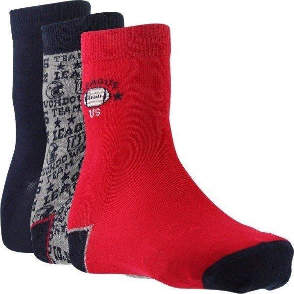 TWINDAY Lot de 3 paires de Chaussettes Garçon Coton LEAGUE US Rouge Marine