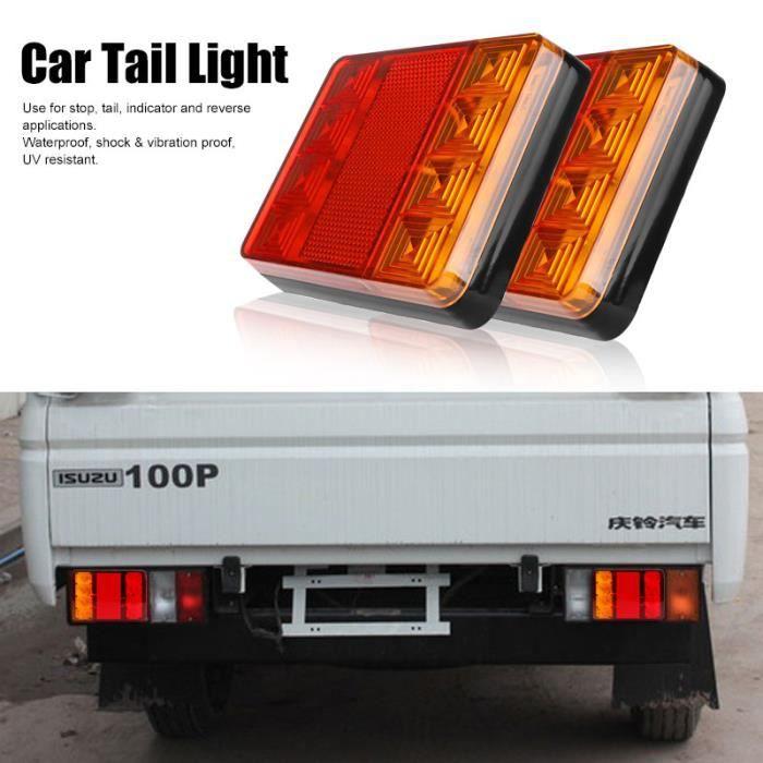 2 paquets d'indicateur de recul de feu arrière de voiture étanche 12 V 8 LED, adapté à la caravane UTE
