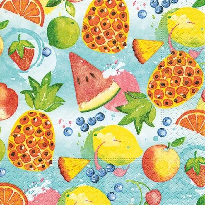 PAPER DESIGN - 20 Serviettes 33x33 cm - Tropical fruits