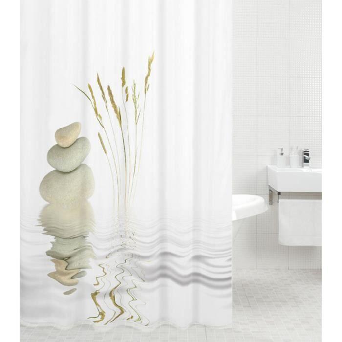 Rideau de douche Équilibre 180 x 200 cm - de haute qualité - 12 anneaux inclus - imperméable - effet anti-moisissures