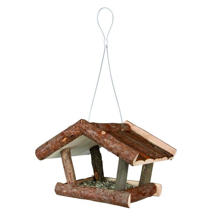 NATURAL LIVING Mangeoire pour oiseaux 32 × 23 × 20 cm naturel