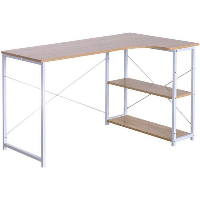 WOLTU Table de bureau en bois et acier,Table d'ordinateur,Table de Travail, 120x74x71.5cm,12.8kg,Blanc+chêne clair