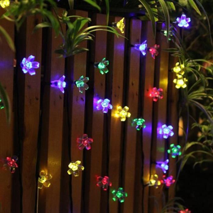 Guirlande lumineuse extérieur solaire fée Lumière 7 M MULTI COULEUR 50 LED  fleurs éclairage décoration pour noël, fête, jardin (Mult