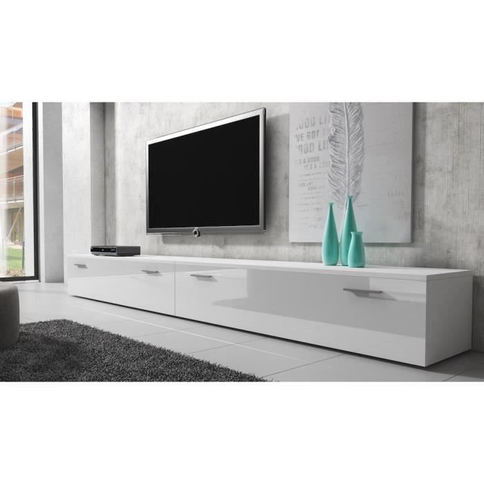 boston meuble tv contemporain d cor blanc 300 cm achat vente meuble tv boston meuble tv. Black Bedroom Furniture Sets. Home Design Ideas