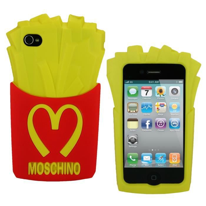 Apple iphone 4 4s etui housse coque moschino frites for Etui housse iphone 4