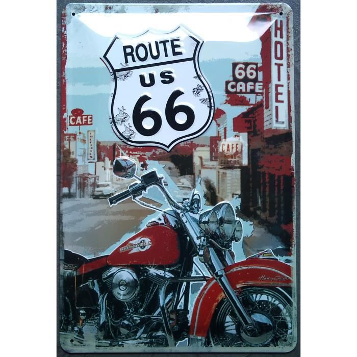 Plaque metal route 66 moto harley davidson usa bar achat for Decoration murale usa