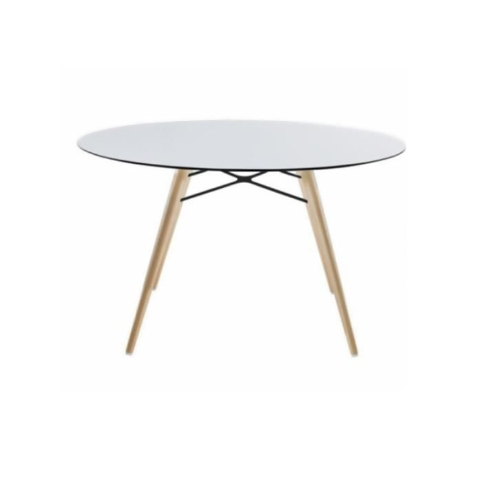 Table ronde wox blanc achat vente table de jardin for Table de jardin ronde plastique blanc