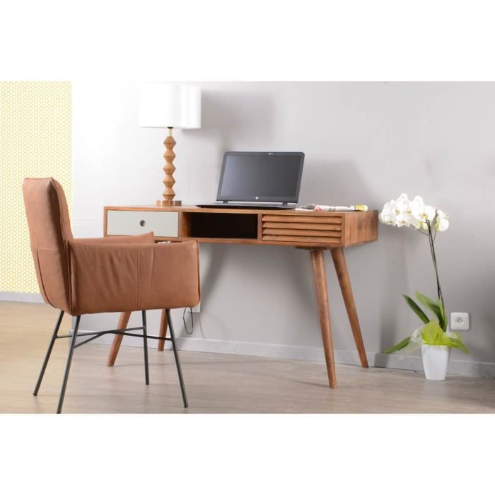 bureau scandinave 2 tiroirs et une niche 39 vintage grey. Black Bedroom Furniture Sets. Home Design Ideas