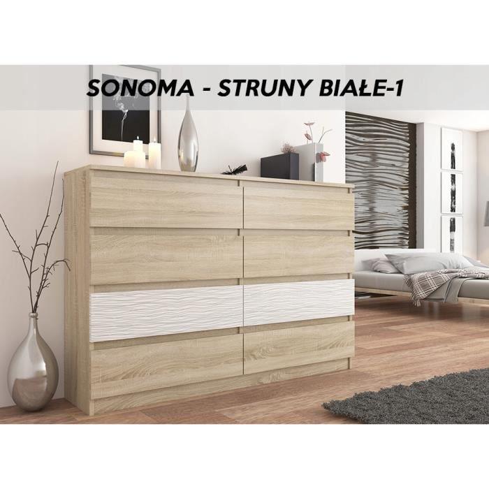 FIRA S1 | Commode contemporaine chambre salon séjour | 140x40x98 8 tiroirs  | Meuble de rangement scandinave | Dressing moderne |