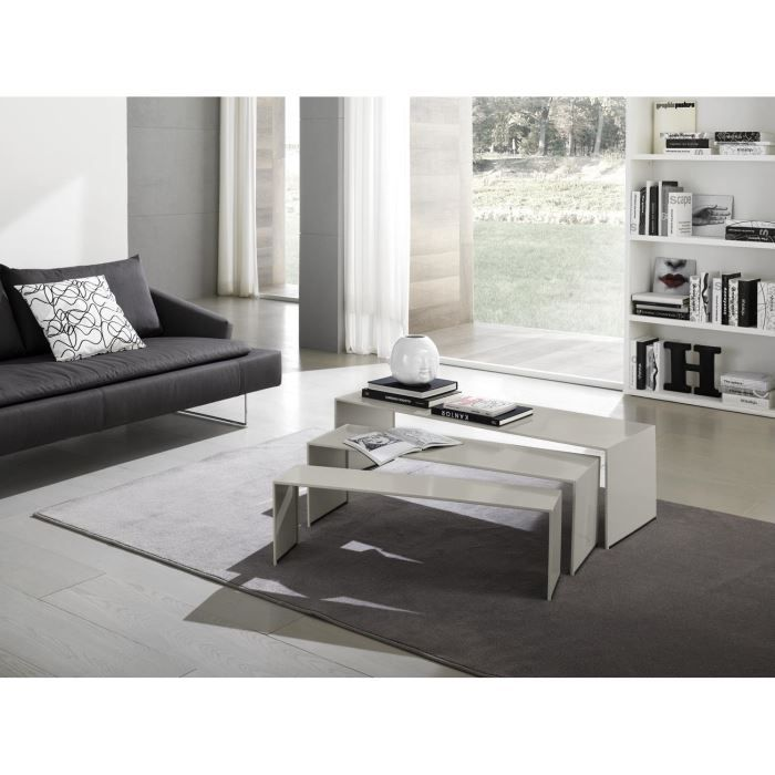 Table basse gigogne design stripes laque gris achat - Table basse gigogne design ...