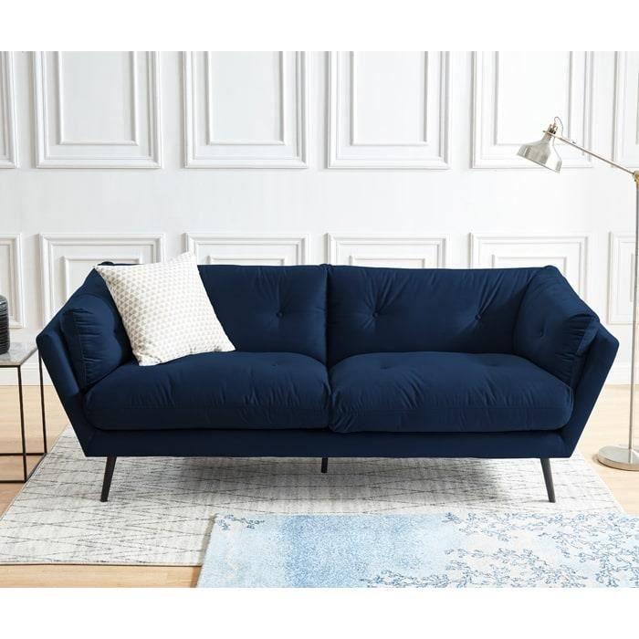 CANAPÉ - SOFA - DIVAN Canapé moderne 3 places en velours bleu - Collecti