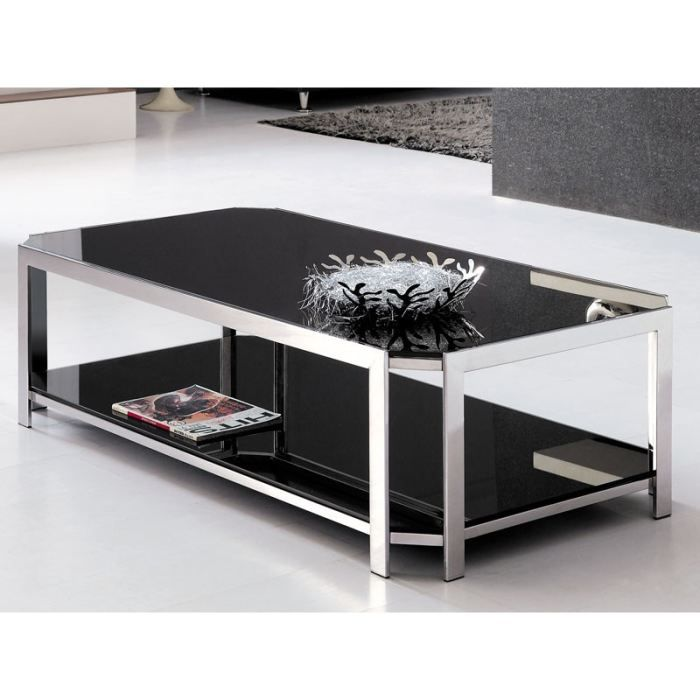table basse inox verre fume achat vente table basse table basse inox verre fume cdiscount. Black Bedroom Furniture Sets. Home Design Ideas