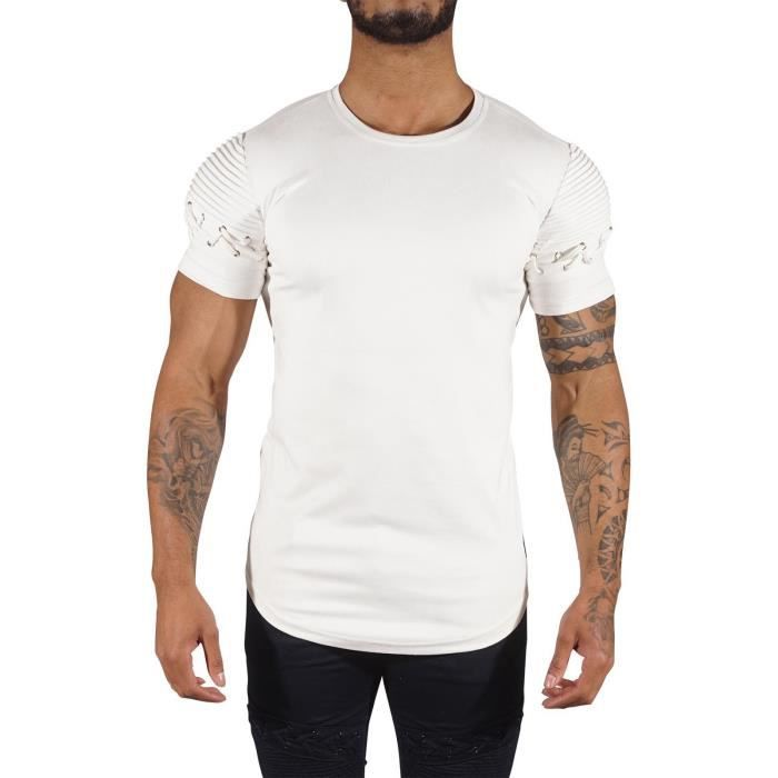 X Blanc Project Tee Paris Shirt lace Homme effet up Blanc daim zApz0w