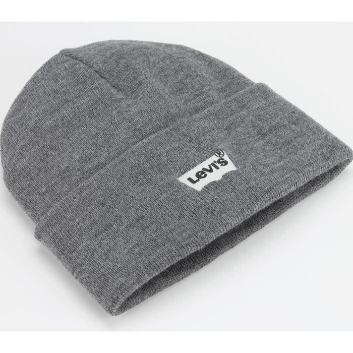 95eb9581 Levis Batwing Embroidered Slouchy Beanie Gris Gris - Achat / Vente ...