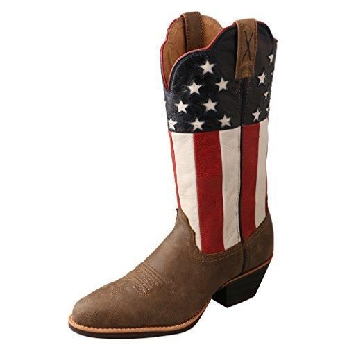 Drapeau américain occidental de cow-girl Bottes Toe Round - Wwt0035 OX0Y8 Taille-36 1-2