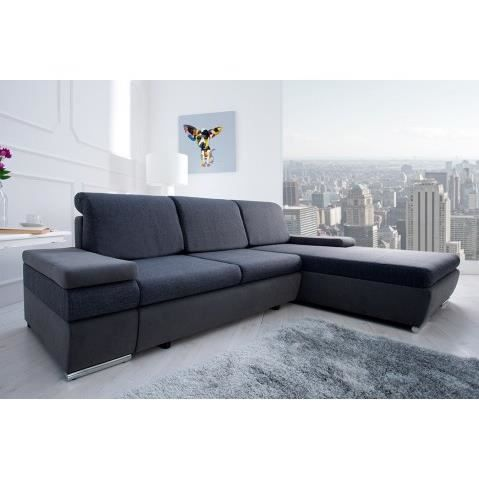 Canape d angle convertible anthracite select achat vente canap sofa - Canape angle anthracite ...