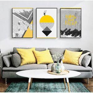 Chambre /à Coucher d/écoration Moderne 100/% Peinte /à la Main Jaune et Bleu pour Salon Wieco Art Grande Peinture /à lhuile sur Toile Abstraite Grise