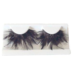 Feather cils femmes blanc /& marron déguisement faux cils