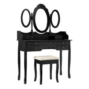 COIFFEUSE LANGRIA Coiffeuse Table de Maquillage 110x43x153cm