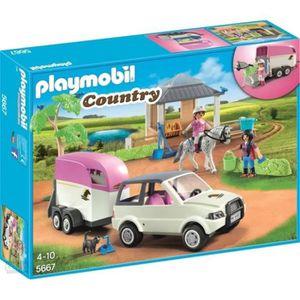 UNIVERS MINIATURE Playmobil 5667 reitstall avec chevaux Transporter
