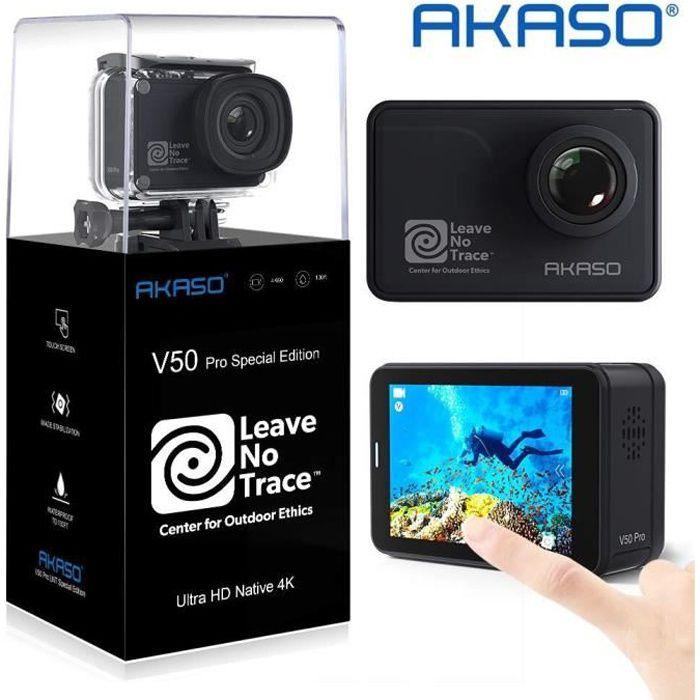 AKASO V50 Pro SE Leave No Trace 4K/60fps Ecran Tactile WiFi Action Caméra EIS 39m Etanche Caméra Sports Télécommandée Kit Accessoire