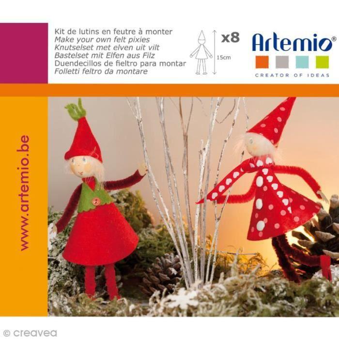 Kit feutrine Lutins de Noël à coudre - 8 pcs - 15 cm Kit de feutrine à coudre : hème : Noël Matière : Feutrine Formes : Lutins