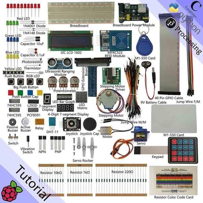 RFID Starter Kit for Raspberry Pi   Beginner Learning   Model 3B, 2B, B+   Python, C, Java, Processing   53 Projects, 200+ Componen