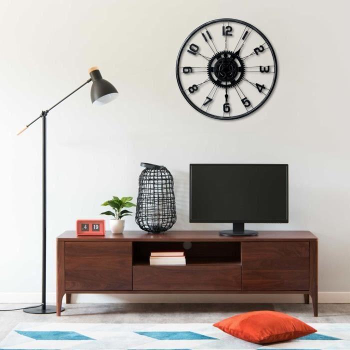 COCO Horloge murale Noir 60 cm Métal